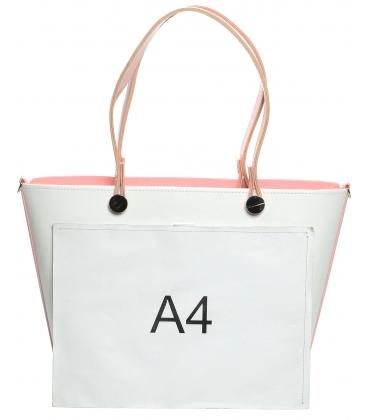 Bielo-ružová vystužená kabelka cez rameno S631 - Grosso