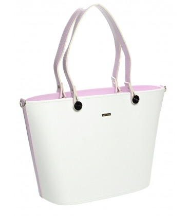 Bielo-levanduľová  elegantná kabelka cez rameno S631 - Grosso