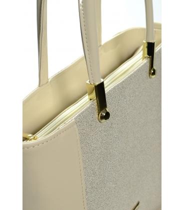 Béžovo-brokátová elegantná kabelka S643 - Grosso