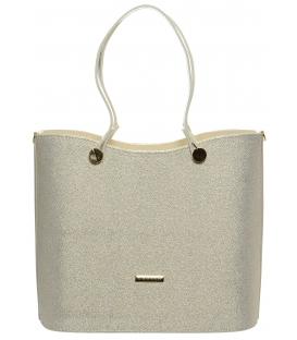 Béžovo-brokátová elegantná kabelka S638 - Grosso