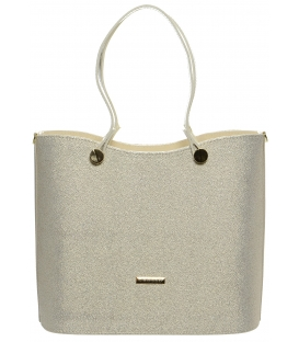Béžovo-brokátová elegantní kabelka S638 - Grosso