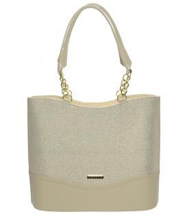 Béžovo-brokátová elegantní kabelka S656 - Grosso