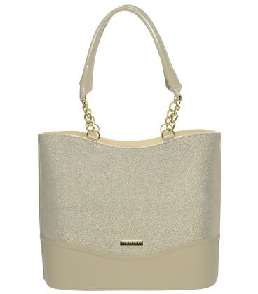 Béžovo-brokátová elegantná kabelka S656 - Grosso