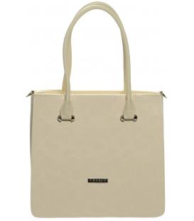 Béžová elegantná kabelka s hadím motívom -S658 - Grosso