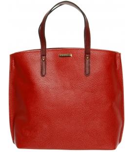 Červená matná  kabelka s hadím motívom S612 - Grosso