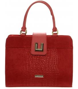 Červená elegantná kabelka s kroko potlačou S660 - Grosso