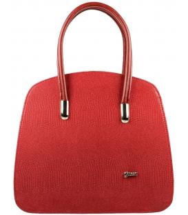 Světle červená kabelka s hadím vzorem S535 - Grosso