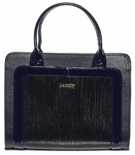 Modrá vrúbkovaná kabelka s vystužením S561 - Grosso