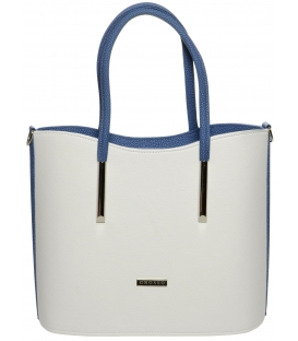 Bílo-modrá vysoká kabelka S638 - Grosso