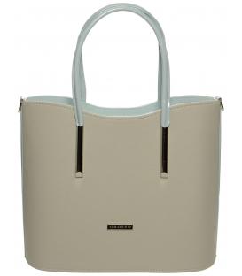 Světlehnědá kabelka s mentolovými držadly S638 - Grosso