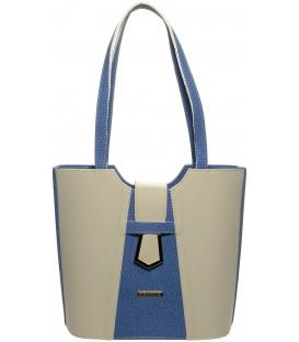 Béžovo-modrá kabelka s ozdobou S665 - Grosso