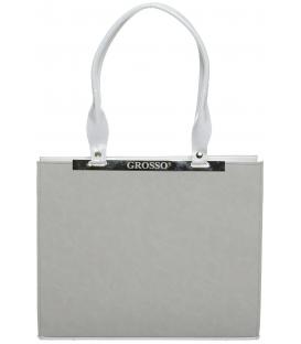 Sivá hranatá kabelka s ozdobou S669 - Grosso