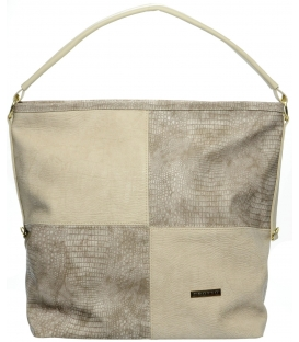 Béžovo-hnedá mechová kabelka s kroko efektom S667 - Grosso