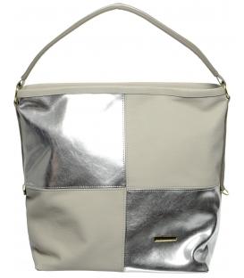 Šedo-stříbrná mechová kabelka S668 - Grosso