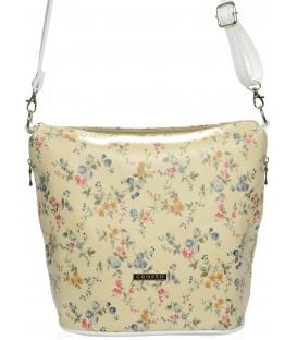 Béžová crossbody kabelka s kvetmi M229 - Grosso