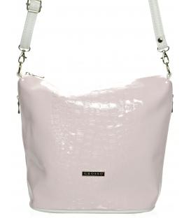 Ružovo-biela lakovaná crossbody kabelka M229 - Grosso