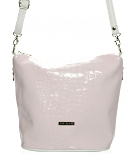 Růžovo-bílá lakovaná crossbody kabelka M229 - Grosso