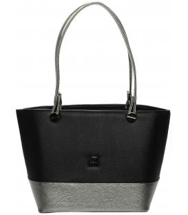 Strieborno-čierna menšia kabelka S642 - Grosso