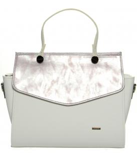 Bílo-růžová elegantní kabelka S661 - Grosso
