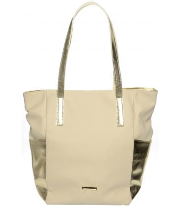 Béžovo-zlatá vysoká kabelka cez rameno S671 - Grosso