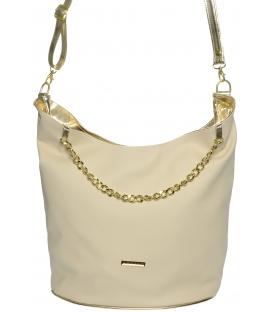 Béžovo-zlatá velká crossbody kabelka s řetízkem S672 - Grosso