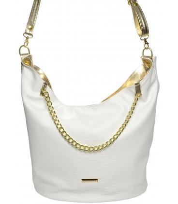 Bielo-zlatá veľká crossbody kabelka s retiazkou S672 - Grosso