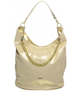 Zlato-béžová kabelka přes rameno S663 - Grosso