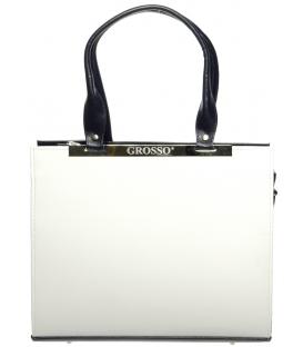 Bielo-modrá elegantná kabelka hranatého tvaru S669 - Grosso