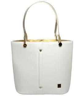 Bílo-zlatá velká crossbody kabelka s řetízkem S672 - Grosso