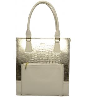 Zlato-béžová vysoká kabelka s kroko efektom S659 - Grosso