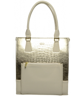 Zlato-béžová vysoká kabelka s kroko efektem S659 - Grosso