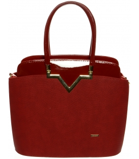 Červená elegantná kabelka S482 - Grosso
