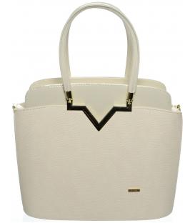 Béžová elegantná kabelka s ozdobou S482 - Grosso