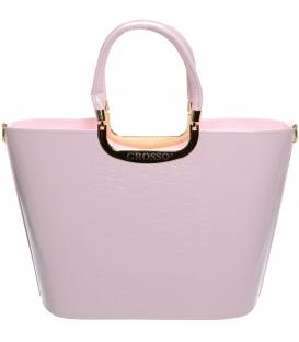 Ružová elegantná kabelka s kroko potlačou S7 - Grosso