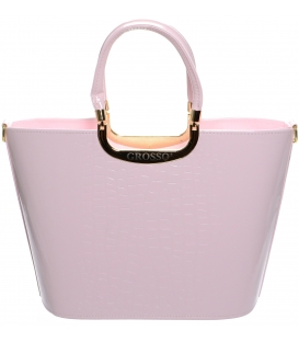 Růžová elegantní kabelka s kroko potiskem S7 - Grosso