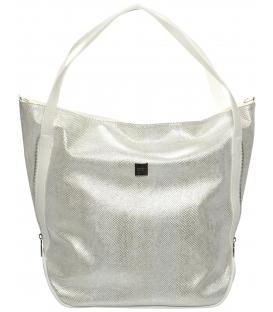 Strieborno-biela mechová kabelka S674 - Grosso