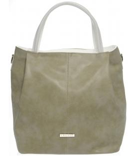 Bledohnedá mechová kabelka s bielymi rúčkami S400 - Grosso