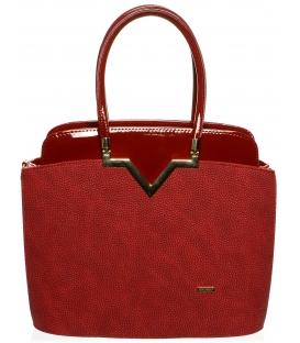 Červená elegantná kabelka so zlatou ozdobou S482 - Grosso