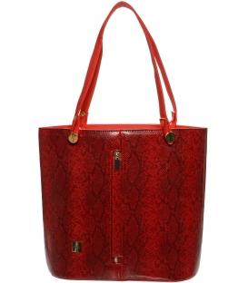 Červená vysoká kabelka s hadím vzorom S672 - Grosso