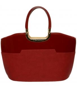 Červená elegantná kabelka s jemnou potlačou S5 - Grosso