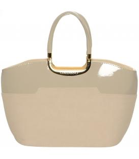 Béžová elegantní kabelka s jemným potiskem S5 - Grosso