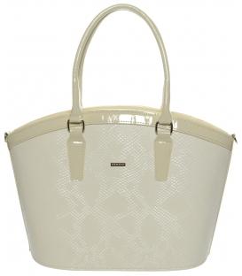 Béžová vystužená kabelka oblého tvaru S505 - Grosso