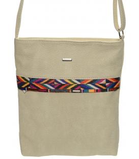 Béžová kabelka s barevným písmem M218 - Grosso