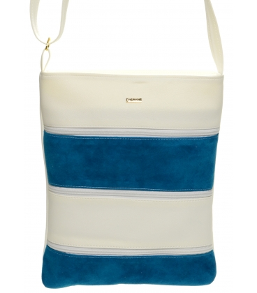 Bielo-modrá crossbody kabelka s koženými pruhmi M208 - Grosso
