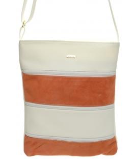 Bielo-oranžová crossbody kabelka s koženými pruhmi M208 - Grosso