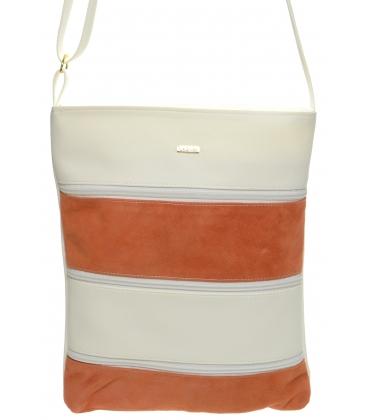 Bílo-oranžová crossbody kabelka s koženými pruhy M208 - Grosso