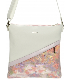 Bílo-růžová crossbody kabelka s mozaikou M217 - Grosso
