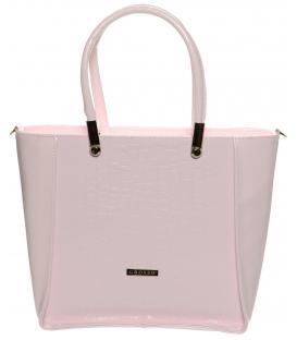 Ružová elegantná kabelka s kroko efektom S643 - Grosso