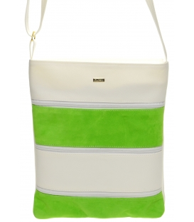 Zeleno-bílá crossbody kabelka s koženými pruhy M208 - Grosso