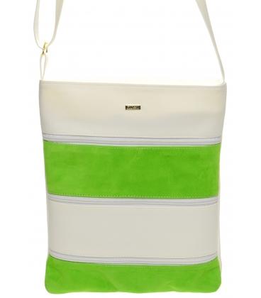 Zeleno-biela crossbody kabelka s koženými pruhmi M208 - Grosso